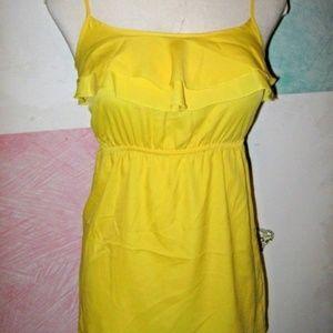 Bright Yellow Ruffle Raised Elastic Waist Tank Top